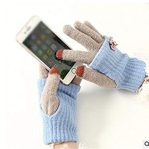 WWF Herbst Und Winter Dicke Warme Strick Fünf-Finger Weibliche Garn Student Mode Touch Bogen Zweiteilige Handschuhe
