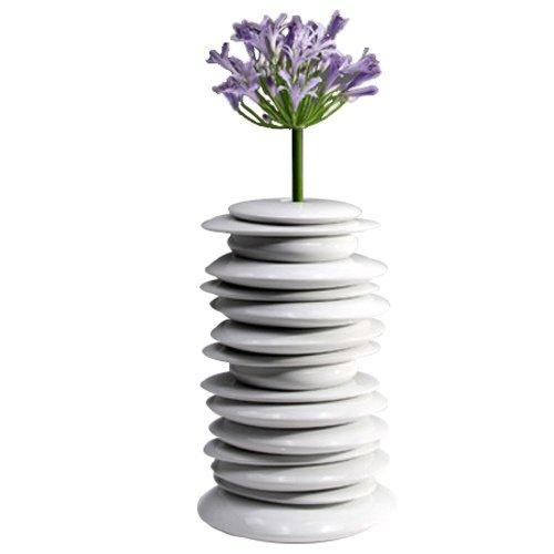 Industreal HULA HOOP, elegante jarrón en porcelana blanca esmaltada