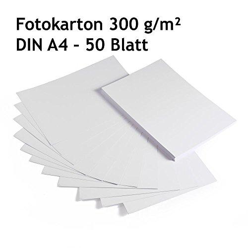 festes papier Fotokarton, Bastelkarton weiß, 50 Blatt, DIN A4, hochwertige Qualität, 300 g/m²