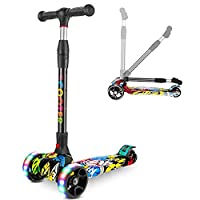 Kids Scooter, Adjustable Kick Scooter Foldable Height with PU Wear-Resistant Wheels LED Light-Up Perfect for Children 2-12 Years Old