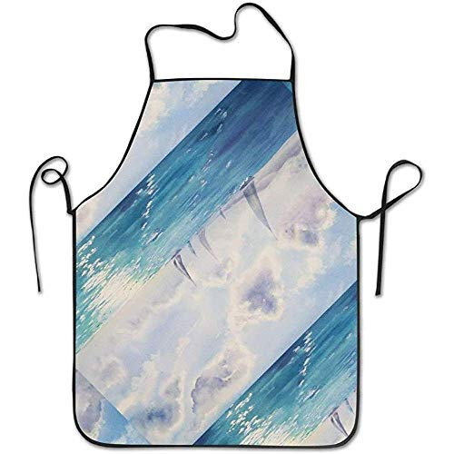 ouyjian Custom Aprons Watercolor Blue Sky Nature Sea Funny Cooking Apron for Men - BBQ Grill Kitchen Chef Barbecue Gifts, One Size Fits Most