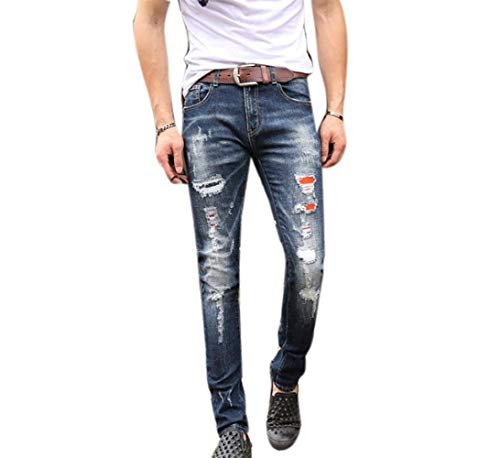 Denim Jeans Ripped Loch Distressed Biker Stretch Jungen Männer R Jeans Nner Motorrad Hosen Skinny Slim Jeans Plus E (Color : Blau, Size : 38)