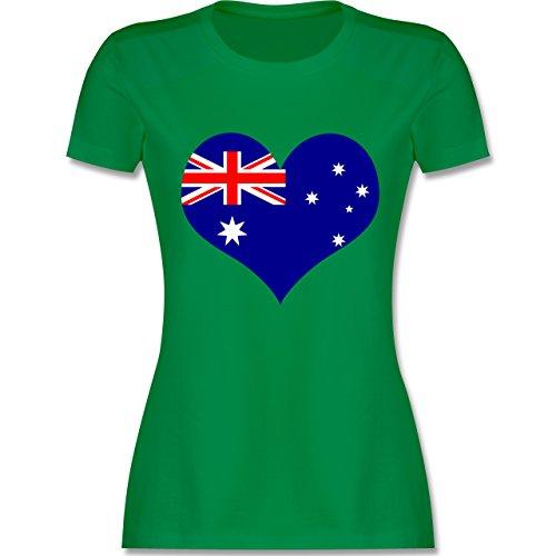 Länder - Herz Australien - tailliertes Premium T-Shirt mit Rundhalsausschnitt für Damen Grün