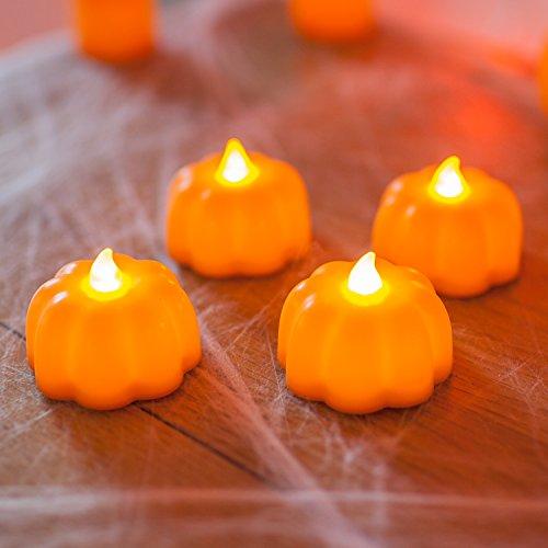 Lights4fun - Conjunto de 4 Velitas LED de Cera en Forma de Calabaza de Halloween a Pilas