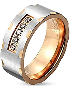 Paula & Fritz® Ring aus Edelstahl Chirurgenstahl 316L Rose vergoldet 6 8 mm breit Paaringe Zweifarbig gerastert...