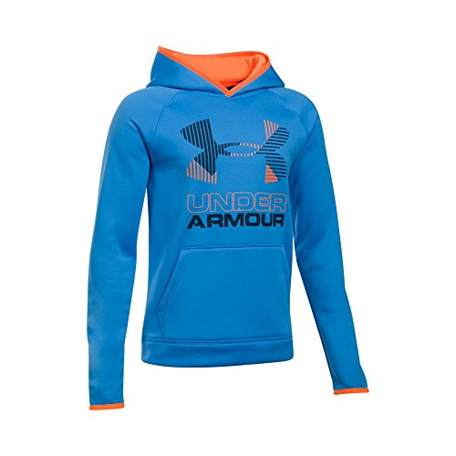 Big Logo Hoodie (Unter Armor Jungen Armour Fleece-Solid Big Logo Hoodie, Jungen, Mako Blue/ Magma Orange/ Midnight Navy)