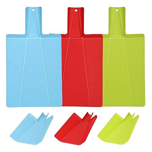 Culinario lot de 3 poêles planche à découper-pliable, vert, rouge et bleu