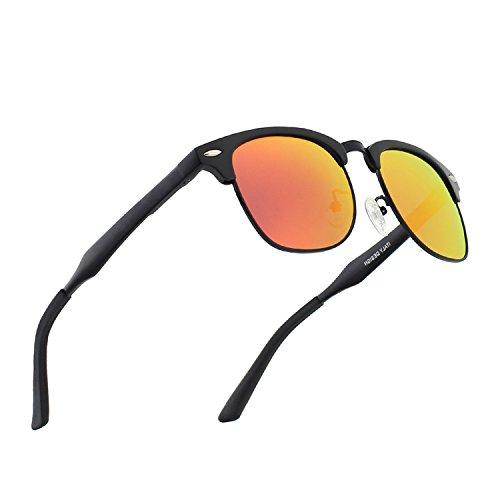 CGID Al-Mg Legierung Clubmaster Stil Polarisierte Sonnenbrillen UV400, Sonnen brillen mit Metall nieten für Männer Frauen GD58 (Rot Sonnenbrille Spy)