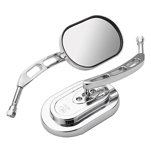 Preisvergleich Produktbild JenNiFer 10Mm Universal Chrome Motorrad Spiegel Rückansicht Seitenspiegel Für Harley / Suzuki / Honda