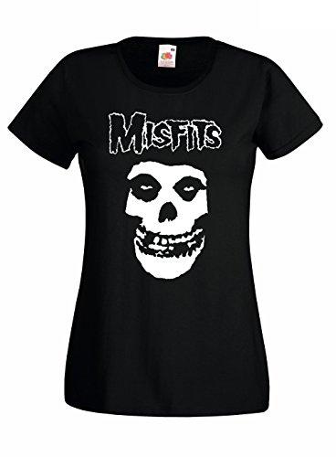 T-shirt Donna Misfits - maglietta punk 100% cotone LaMAGLIERIA, S, Nero