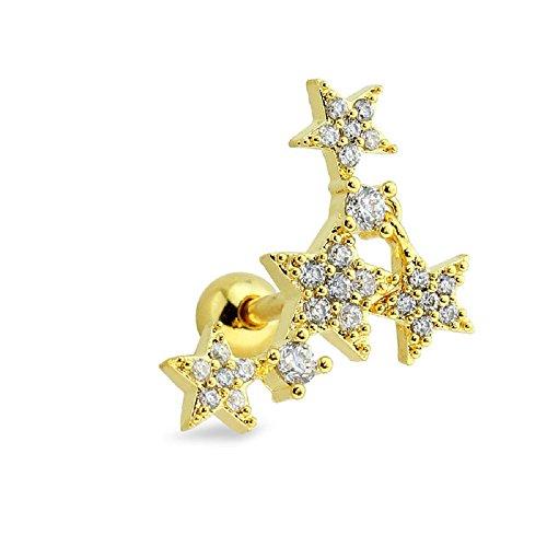 BlackAmazement Tragus Piercing Helix Ohr Stern Star Zirkonia CZ Kristall Steine Ohrring 316L rosegold silber gold Damen (Farbe Gold - für linkes Ohr) (Black Ohrringe Star)