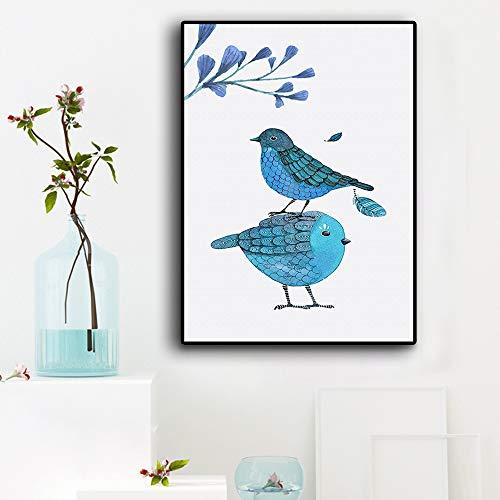 WSNDGWS Decoración Moderna para el hogar Pequeña Pintura Minimalista Fresca del Amor del pájaro Pintura Decorativa sin Marco A6 60x90cm