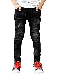 ZiXing Niños chico cremallera Stretch pantalón Slim jeans rotos pantalones vaqueros agujero
