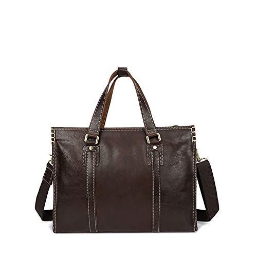 MKHDD Mens Full Grain Leder Aktentasche Attache, Business Oil Wax Casual Taschen Schulter Messenger Bags Rindsleder Tasche,A (Aktentaschen Attache)