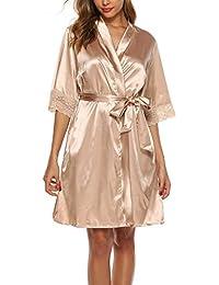 ABirdon Peignoir Satin Soie Robe de Chambre Femme Oblique Col V Court Kimono Robe de Demoiselle