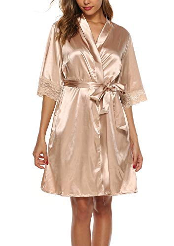 ABirdon Damen Morgenmantel Kimono Satin Bademantel Kurze Robe Taschen V Ausschnitt Sleepwear Mit Blumenspitze - Satin Kurze Robe