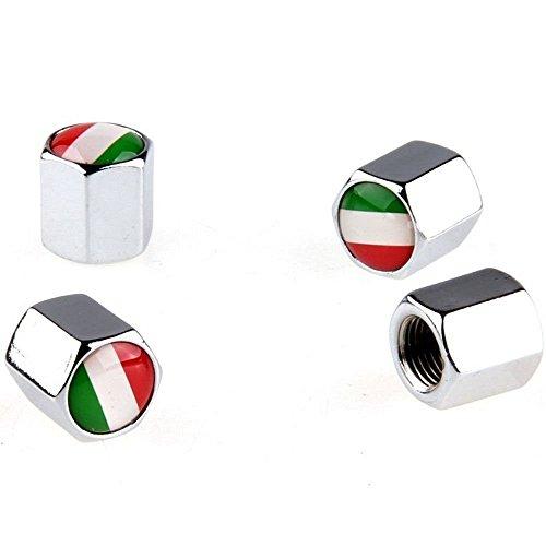 Bandera de Italia 4x válvula de tapas para válvulas de coche motocicleta Cap metal