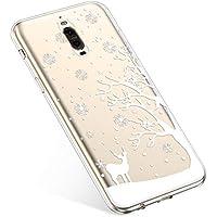 Uposao Handyhülle Huawei Mate 9 Pro Silikonhülle Christmas Durchsichtig Weiche Silikon TPU Handytasche Transparent Ultra Dünn Kristall Klar Crystal TPU Bumper Backcover,Hirsch Baum