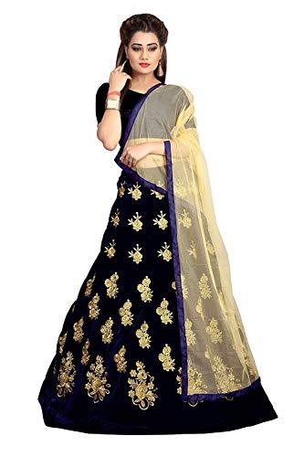 Khileshwai Fashion Women\'s Velvet Semi-stitched Lehenga Choli - ke05_ke42_Navy Blue_Free Size