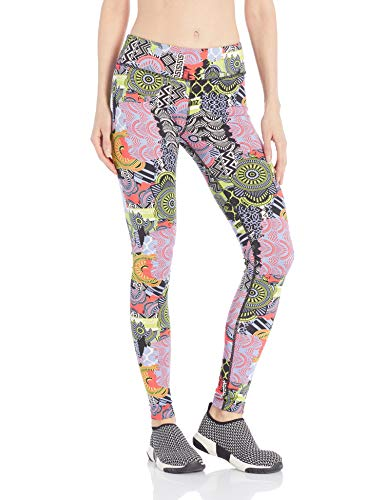 Zumba Damen Kompressions-Leggings mit breitem Taillenbund, sportlicher Aufdruck, Capri-Leggings, Damen, Women's Wide Waistband Print Legging with Compression, Rain Blue, Small -