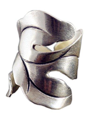 NicoWerk Silberring Vintage Ring Silber 925 Breit Blatt Verstellbar 190