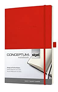 Sigel CO217 CONCEPTUM Notebook, approx. A4, squared, softcover, elastic fastener, red
