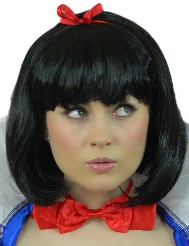 inzessin Karneval Fasching Kostüm Perücke Schwarzer Märchen Bob Damen (Perücken Versand Am Selben Tag)
