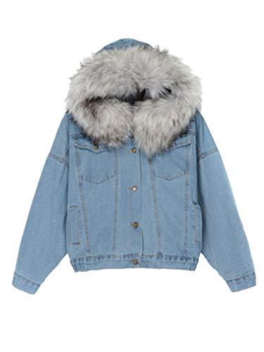 SUMTTER 2019 Damen Sweatjacke Frauen Sweat Parka Warme Winterjacke Jeansjacke Jeans Mantel Kapuzenjacke mit Reißverschluss