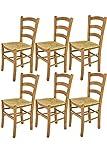Tommychairs Chaise du Design - Set de 6 chaises Venice pour la Cuisine et la Salle à Manger, avec Structure en Bois, Couleur chêne et Assise en Paille