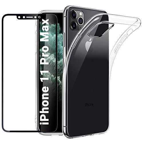 EasyAcc Hülle für iPhone 11 Pro Max Case & Panzerglas 9H Schutzfolie, Clear Transparent Handyhülle Cover Premium-TPU Durchsichtige Schutzhülle Für iPhone 11 Pro Max 6.5''