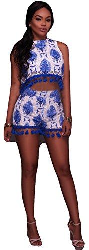 Neue Damen Blau & Weiß gedruckt Lace Zwei Stück Frauen Crop Top Shorts Set Jumpsuit Catsuit Club Wear Beach Festival Kleidung Größe M UK 10–12EU 38–40 (Top Gedruckt Lace)
