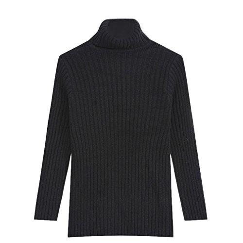 Bigood Sweater Col Haut Femme Pull Uni Manches Longues Chic Noir