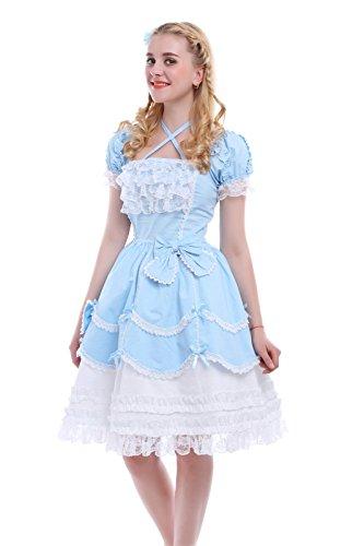 Nuoqi® Damen Lace Kurzarm Retro Victorian Lolita Prinzessin Kleid Cosplay Kostüm Halloween Partei Kostüm Blau (EU40, GC133A) (Lace Kleid Victorian)