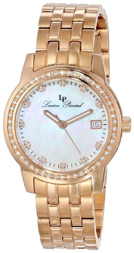 LUCIEN PICCARD TANEY 12545-RG-22MOP LADIES 30MM DATE SYNTHETIC SAPPHIRE WATCH