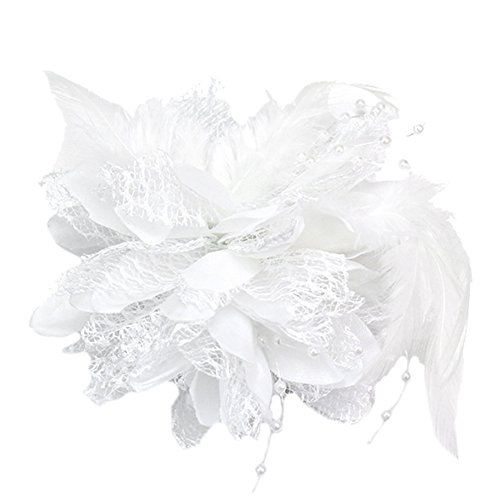 1x Weiß Feder Blumen Brosche Corsage Haarstecker Haarschmuck Fascinator