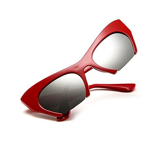 Yiph-Sunglass Sonnenbrillen Mode Katzenaugen-Brillen-Frauen-Retro- Weinlese-Rasiermesser-klare Linsen-Art-Hälfte Schnitt Rahmen 5163 ab Zubehör (Color : NO.1)