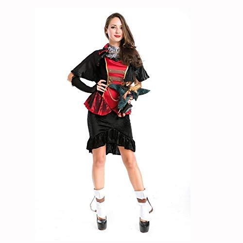 Yunfeng Hexenkostüm Damen Halloween-Kostüm Vampir Lady Demon Spinne schwarz Kleid Kostüm Hexe Outfit Witch Queen Kostüm