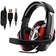 JAMSWALL Stereo Gaming Headset for PS4, PC, Xbox One, Noise Cancelling Over Ear Headphones with Mic, Bass Surround, Soft Memory Earmuffs for Laptop Switch Games