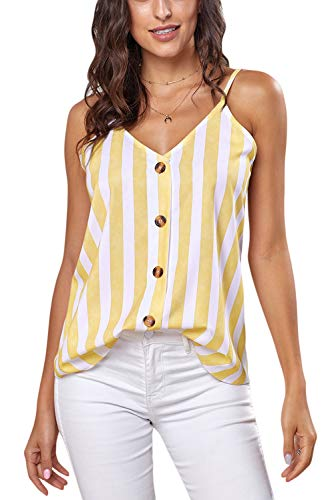 Ancapelion Damen Sommer Bluse Ärmellose Chiffon Tank Top V-Ausschnitt Shirt Elegant Weste Hemdbluse Loose fit T Shirt mit Trägern (Gelb-Streifen, XL(EU 46-48)) -