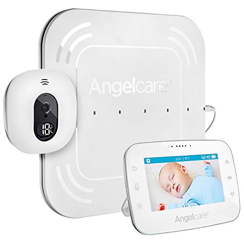 'Angel Care A0315 DE0 de A1001 Vigilabebés con supervisión de vídeo y movimiento AC315 de D/4.3 pantalla/Sensor Matte con cable, color blanco