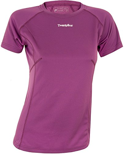 Twentyfour Damen Lauf Shirt Seven T-Shirt aus 100% Techfaser in vielen frischen Farben Violett - Plum/Purple
