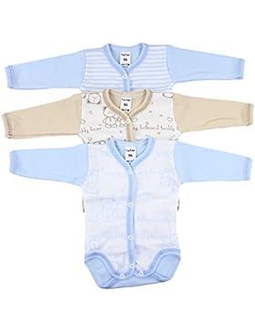 TupTam Unisex Baby Langarmbody Aufknöpfbar Baumwolle 3er Set