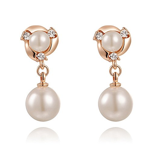 Perlen Ohrclips Fake Ohringe Pearl Perle Damen Clip On Non-Piercing vergoldet rosègold-weiß