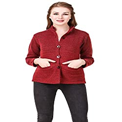 Kritika World Womens Wool Cardigan Dress (COAT_NEHRU_MAROON_Maroon_X-Large)