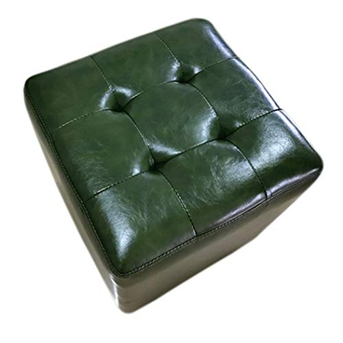 BAIJJ Hängematte Tür Ändern Schuh Bank Couchtisch Hocker Niedrigen Hocker Leder Hocker Sofa Hocker Haushalt Platz Hocker Kreative (Farbe: Grün-32 * 32 * 35 cm) - Leder-sofa Platz