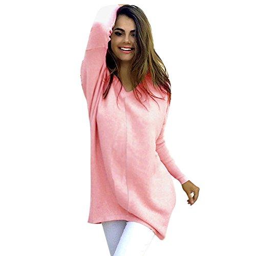 Damen Strickpullover MYMYG Pullover Casual Langarm Sweatshirt V-Ausschnitt Sweater Pulli Strick Oversize Knitwear Bluse ()