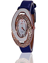 Fusine™ Amni Fashion Double Stone Studded 3D Leather Watch For Women (Oval) Party Wear (Blue)