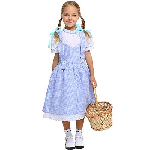 LOLANTA Mädchen Dorothy Blue Plaid Kleid Vintage Halloween Dress-up Outfit Zauberer von Oz (Oz Halloween Kostüme)