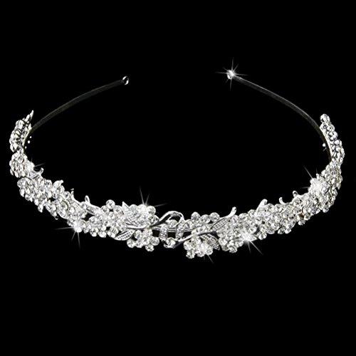 Tiara Flores Perlas stras pelo frente joyas y flores novia boda