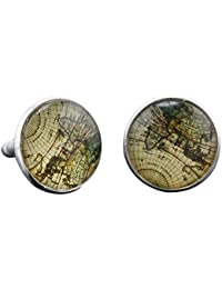 SODIAL(R) Vintage Mens Old Map Party Gift Cufflinks Laser Cuff Links Silver